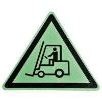 """Pittogramma antiscivolo per pavimento """"Pericolo carrello elevatore e altri mezzi industriali"""""""