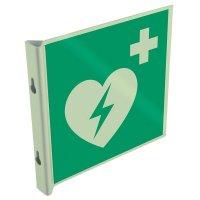 """Cartelli EN ISO 7010 fotoluminescenti a bandiera e tridimensionali """"Defibrillatore automatico esterno"""" - E010"""