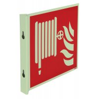 """Cartelli EN ISO 7010 fotoluminescenti a bandiera e tridimensionali """"Rubinetto di incendio armato"""" - F002"""
