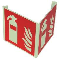 """Cartelli EN ISO 7010 fotoluminescenti a bandiera e tridimensionali """"Estintore"""" - F001"""