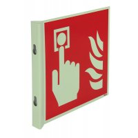 """Cartelli EN ISO 7010 fotoluminescenti a bandiera e tridimensionali """"Pulsante di allarme antincendio"""" - F005"""