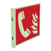 """Cartelli EN ISO 7010 fotoluminescenti a bandiera e tridimensionali """"Telefono da usare in caso di incendio"""" - F006"""