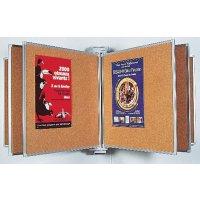 Espositore da parete a libro con pannelli in sughero