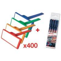 Kit da 400 targhette identificative per cavi + 4 pennarelli indelebili