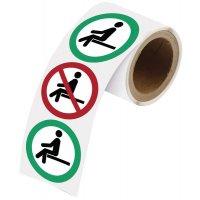 Adesivi riposizionabili in rotolo - Vietato sedersi / Qui puoi sederti