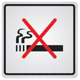Cartello d'informazione adesivo in acciaio Vietato fumare