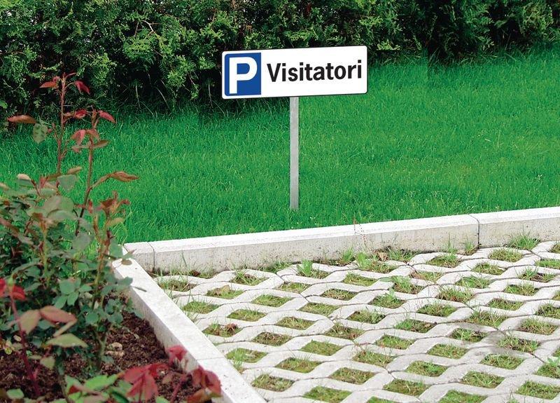 Cartello per parcheggio - Visitatori - in PVC con palo - Seton
