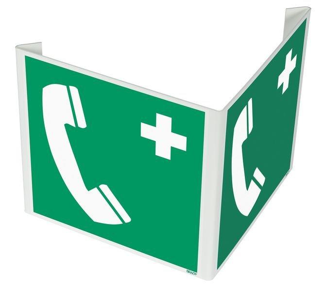 Cartelli a bandiera e tridimensionali ISO 7010 Telefono di emergenza - E004