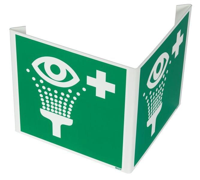 Cartelli a bandiera e tridimensionali ISO 7010 Lavaocchi di emergenza - E011