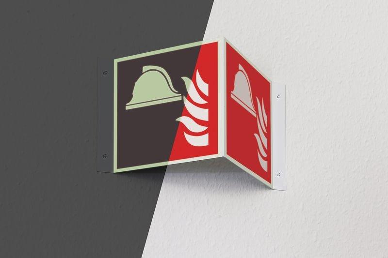 Pittogrammi 3D fotoluminescenti in alluminio ISO 7010 Attrezzatura antincendio - F004 - Seton