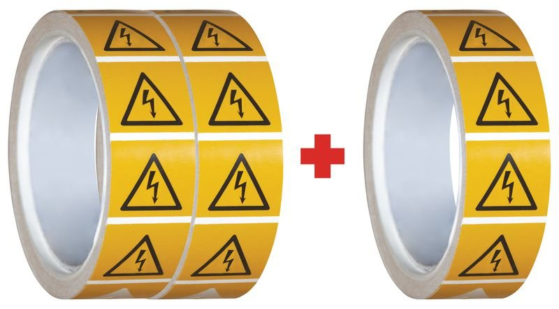 Pack da 3 rotoli di pittogrammi ISO 7010 Pericolo elettrico - W012 (2+1 gratuito)