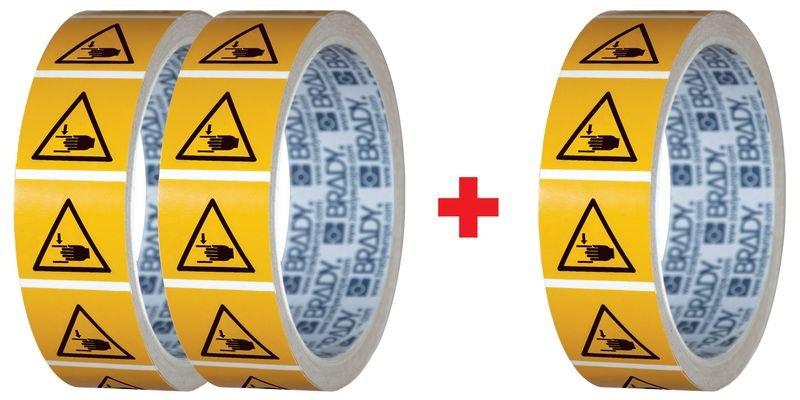 Pack da 3 rotoli di pittogrammi ISO 7010 Pericolo schiacciamento mani - W024 (2+1 gratuito)