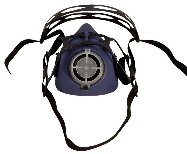 Semimaschera di protezione respiratoria bifiltro in elastomero