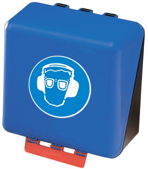 """Contenitori Gebra™ per DPI con pittogramma """"Obbligo di occhiali di protezione e serra-testa antirumore"""""""