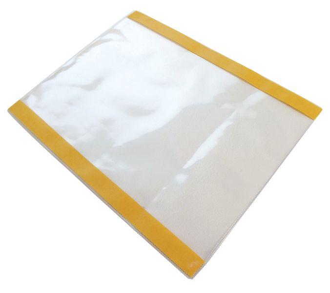 Portadocumenti di protezione trasparente con due bande adesive
