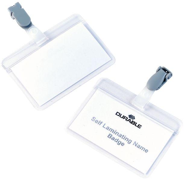 Portabadge autoplastificabili con clip in plastica