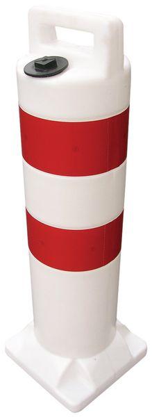 Paletto di delimitazione zavorrabile con strisce retroriflettenti rosse