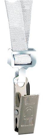 Cordini portabadge piatti con chiusura di sicurezza, a clip o a moschettone
