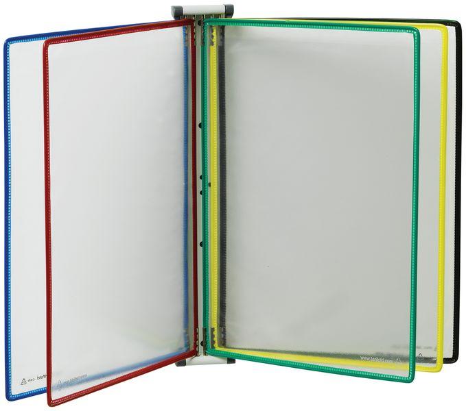 Leggio a parete magnetico con 10 buste colorate A4