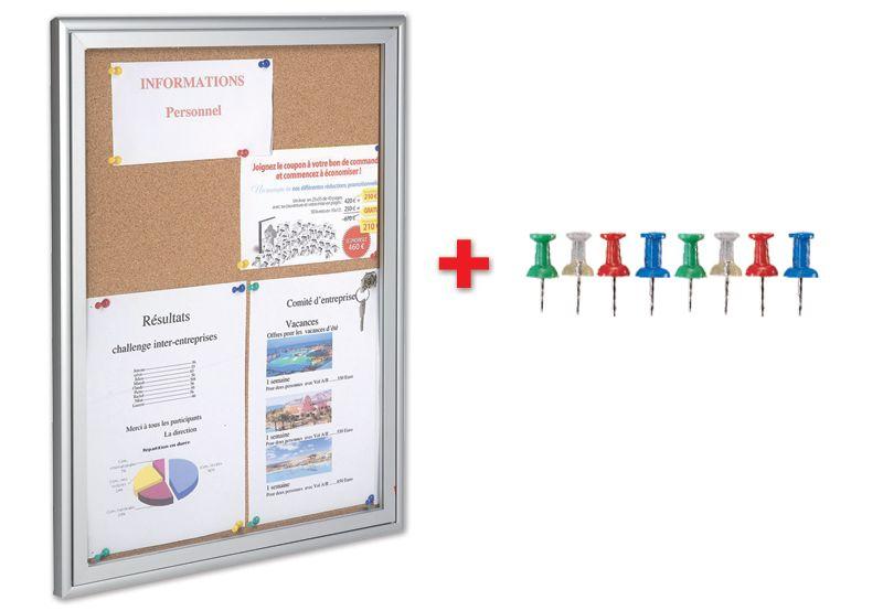 Kit 1 bacheca da interni con fondo in sughero + 200 puntine colorate