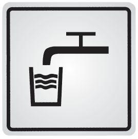 """Cartello d'informazione adesivo in acciaio """"Acqua potabile"""""""