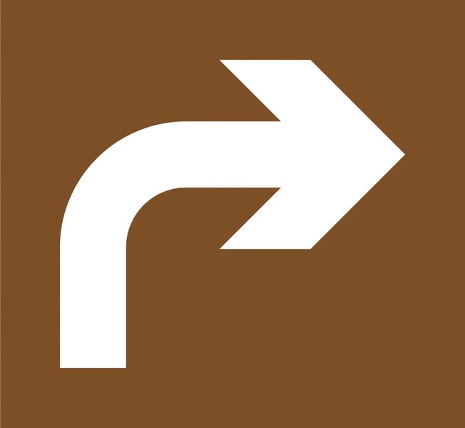 """Stencil in legno per segnaletica orizzontale """"Preavviso di direzione obbligatoria a destra"""""""