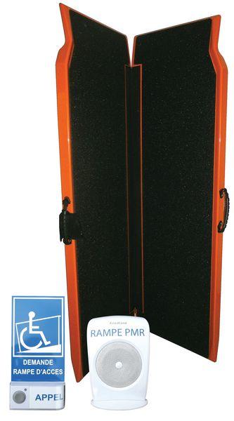 Rampa d'accesso pieghevole con pulsante di chiamata e campanello