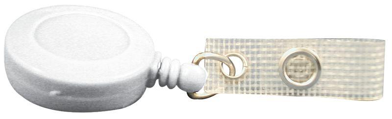 Avvolgitore zip porta-badge, in plastica con clip per cintura in metallo