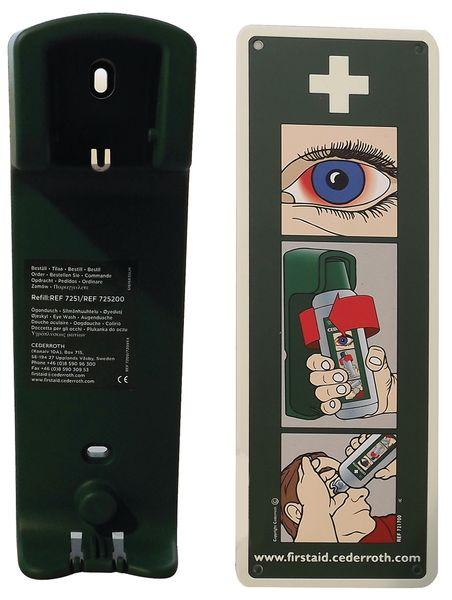 Supporto a parete con 2 flaconi di soluzione neutra per lavaggio oculare