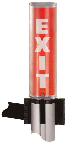 Pannello informativo a forma di tubo per colonnine a nastro retrattile