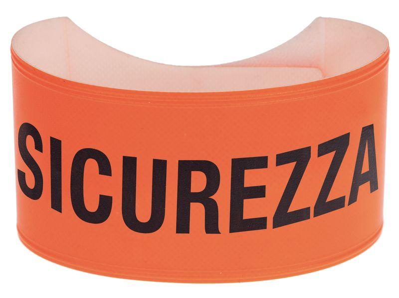 Bracciale di sicurezza fluorescente con testo in PVC morbido