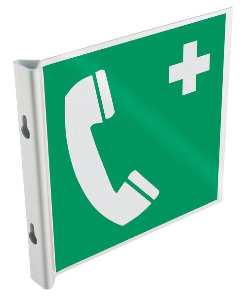 """Cartelli a bandiera e tridimensionali ISO 7010 """"Telefono di emergenza"""" - E004"""