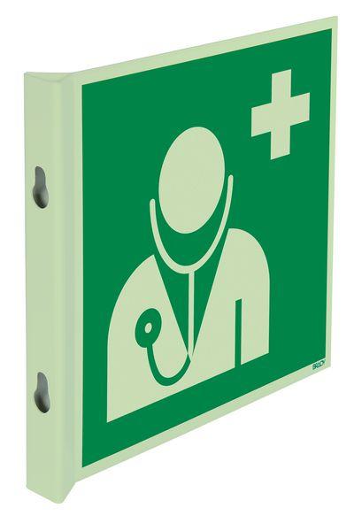 """Cartelli EN ISO 7010 fotoluminescenti a bandiera e tridimensionali """"Personale medico"""" - E009"""