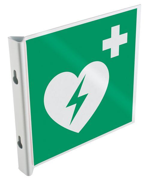 """Cartelli a bandiera e tridimensionali ISO 7010 """"Defibrillatore automatico esterno"""" - E010"""