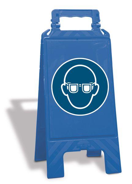 """Cavalletto di segnalazione """"Occhiali protettivi obbligatori"""" EN ISO 7010 - M004"""