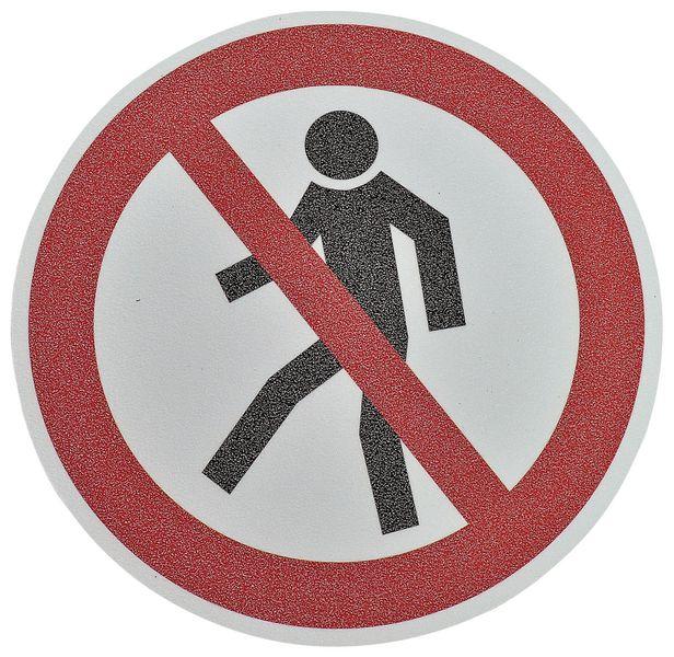 """Pittogramma antiscivolo per pavimento """"Vietato ai pedoni"""""""