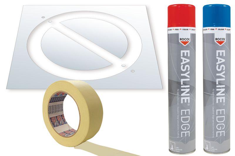 Kit di stencil e vernice Easyline® simbolo Divieto di sosta
