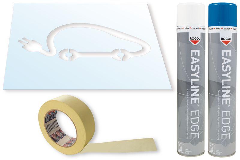 Kit stencil e vernice Easyline® simbolo Auto elettrica