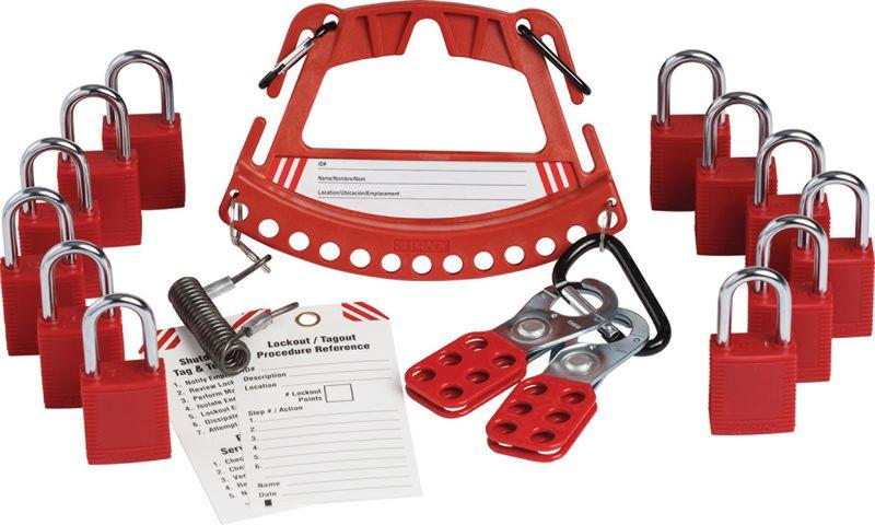 Kit con porta lucchetti + 12 lucchetti per bloccaggio