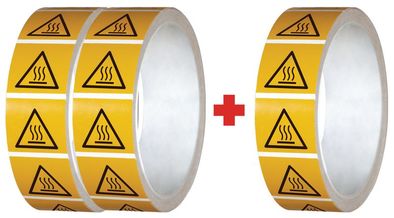 """Pack da 3 rotoli di pittogrammi ISO 7010 """"Superficie calda"""" - W017 (2+1 gratuito)"""