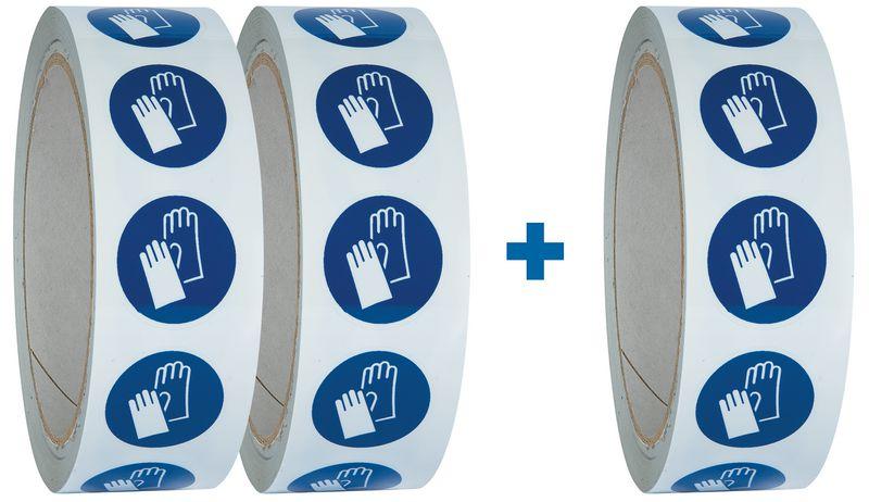 """Pack da 3 rotoli di pittogrammi ISO 7010 """"Guanti protettivi obbligatori"""" - M009 (2+1 gratuito)"""