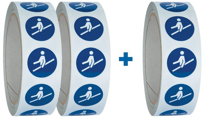 """Pack da 3 rotoli di pittogrammi ISO 7010 """"Usare il corrimano"""" - M012 (2+1 gratuito)"""