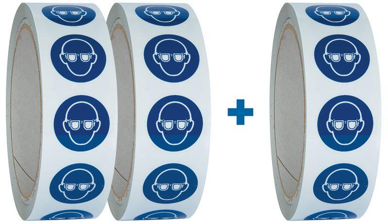 """Pack da 3 rotoli di pittogrammi ISO 7010 """"Occhiali protettivi obbligatori"""" - M004 (2+1 gratuito)"""