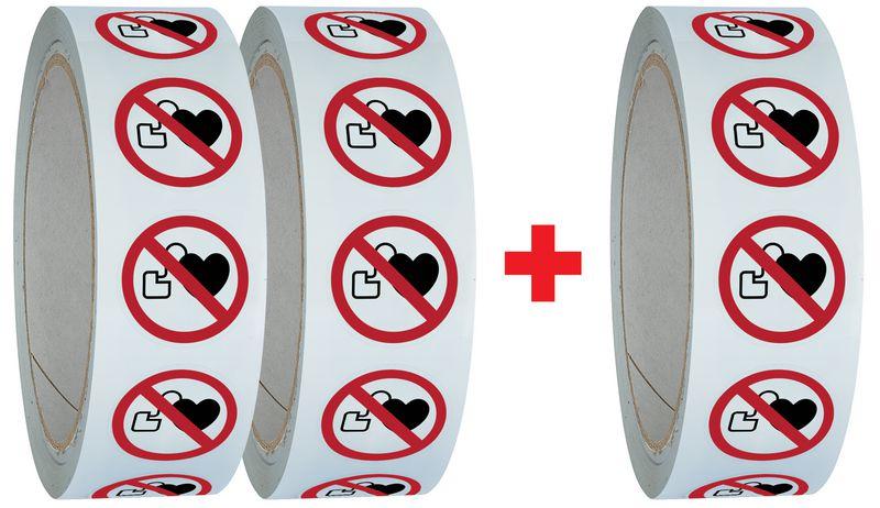 """Pack da 3 rotoli di pittogrammi ISO 7010 """"Divieto di accesso ai portatori di pacemaker"""" - P007 (2+1 gratuito)"""