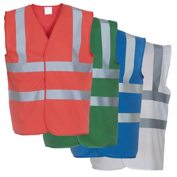 Gilet di sicurezza colorati con bande retroriflettenti