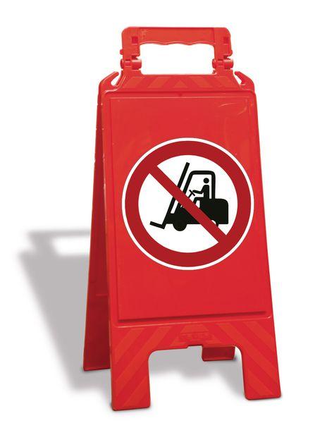 """Cavalletto di segnalazione """"Vietato ai carrelli elevatori"""" EN ISO 7010 - P006"""