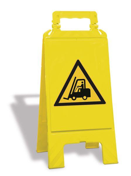 """Cavalletto di segnalazione """"Pericolo carrelli elevatori"""" EN ISO 7010 - W014"""