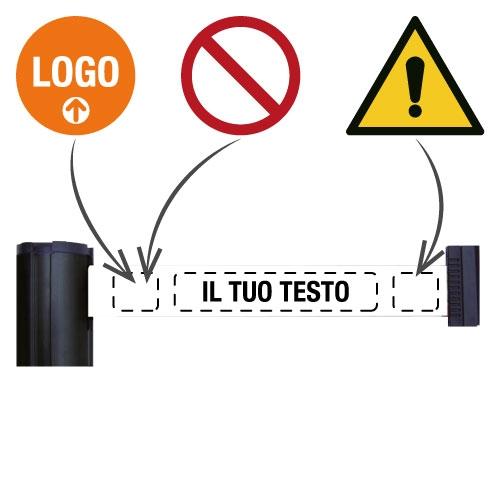 Barriera a nastro retrattile personalizzabile su colonnina o a parete