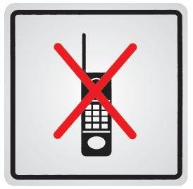 """Zelfklevende informatieborden van staal """"Inschakelen mobiele telefoons verboden"""""""