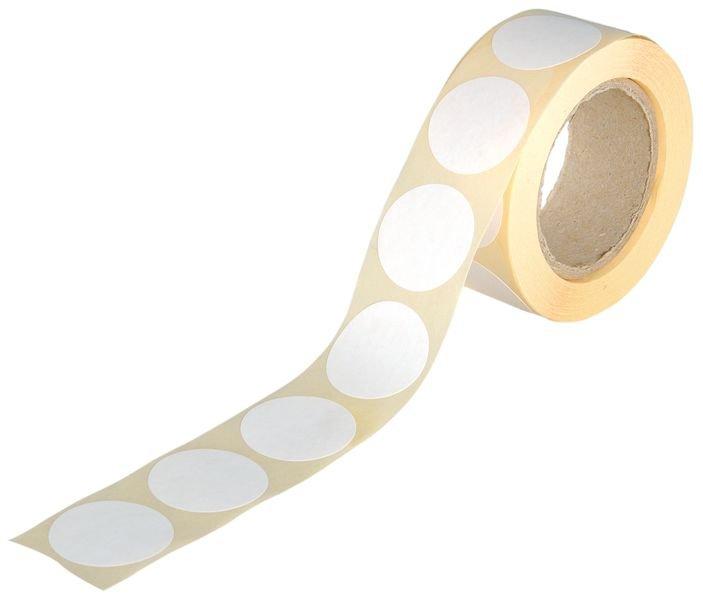 Gekleurde, ronde stickers van papier, op rol